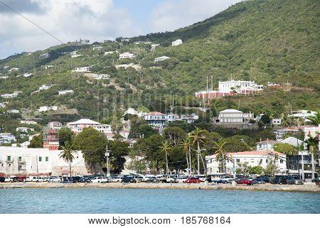 The old town of Charlotte Amalie on St. Thomas island (U.S. Virgin Islands).
