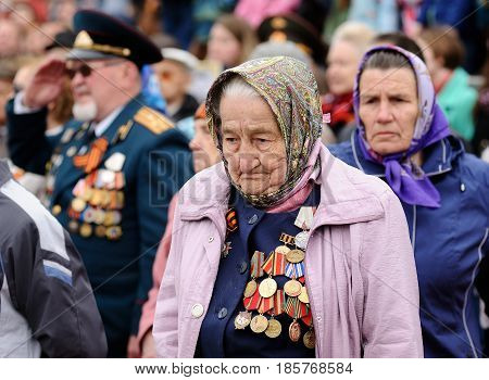 Orel Russia - May 9 2017: Celebration of 72th anniversary of the Victory Day (WWII). Senior war veterans with medals and awards on uniform closeup