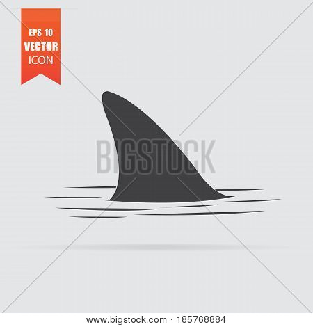 Shark Fin Icon In Flat Style Isolated On Grey Background.
