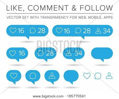 Vector Like, Follower, Comment Icon Set EPS 10