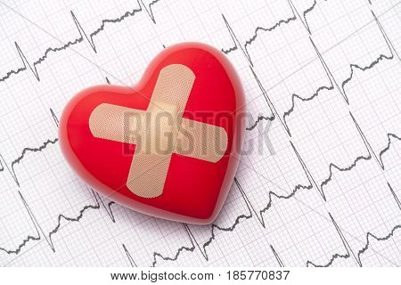 Red heart with adhesive plaster on electrocardiogram (ECG, EKG)