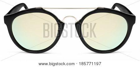 sun glasses golden mirror lenses isolated on white background
