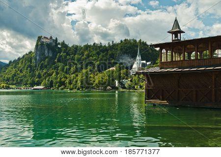 Lake Bled with castle on a hill in a background, slovenian Alps, Slovenia