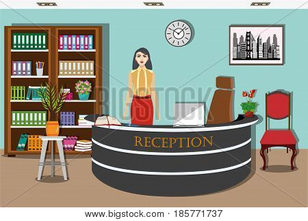 Reception interior design with reception desk, bookcase, chair and plants. Pretty young girl receptionist stands at reception desk. Front view. Vector illustration.