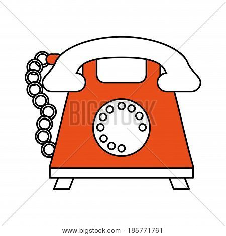 color silhouette cartoon retro telephone with cord and orange body vector illustration