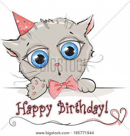 Cute Cartoon Kitten with big eyes on a white background