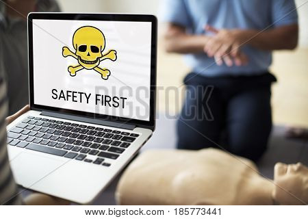 Digital device with the screen of skull icon and chemicals toxin word poster