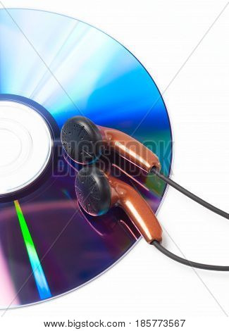 Headphones and CD DVD audio compact disc