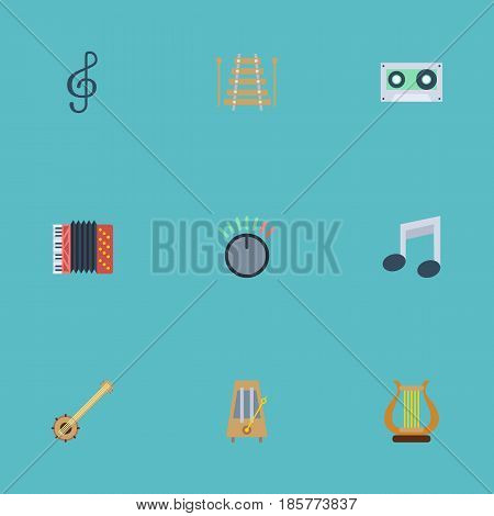 Flat Quaver, Musical Instrument, Banjo And Other Vector Elements. Set Of Melody Flat Symbols Also Includes Instrument, Knob, Quaver Objects.