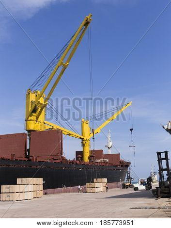 Port With A Large Cargo Ship