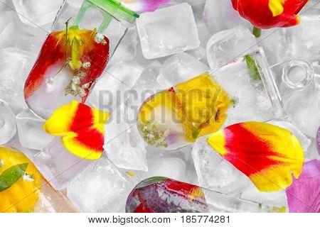 Homemade popsicles with flowers, closeup