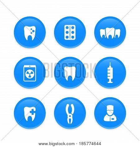 Teeth, dental care, stomatology, dentist icons on round blue shapes