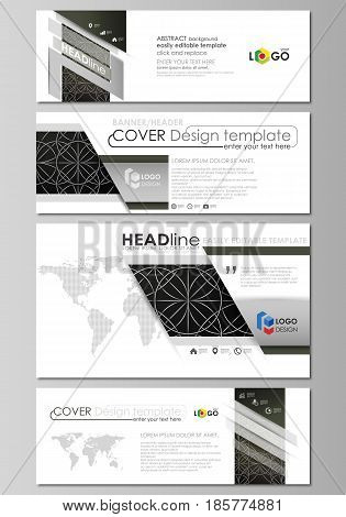 Social media and email headers set, modern banners. Business templates. Easy editable abstract design template, vector layouts in popular sizes. Celtic pattern. Abstract ornament, geometric vintage texture, medieval classic ethnic style.