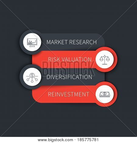 Investment strategy, infographic elements, timeline template in gray and orange