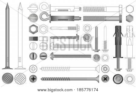 Vector set of realistic and line nuts, bolts, screws and rivets