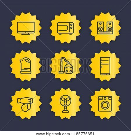 Appliances line icons set, household consumer electronics vector pictograms, tv, microwave oven, audio system, kettle, vacuum cleaner, fridge, hairdryer, fan, washing machine