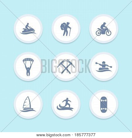 extreme outdoor activities icons set, skydiving, sailing, mountaineering, surfing, rafting