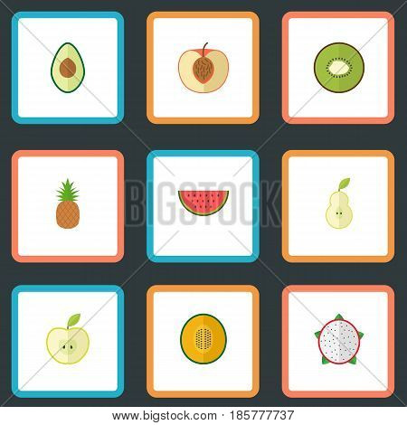 Flat Alligator Pear, Muskmelon, Pitaya And Other Vector Elements. Set Of Fruit Flat Symbols Also Includes Peach, Fruit, Kiwi Objects.