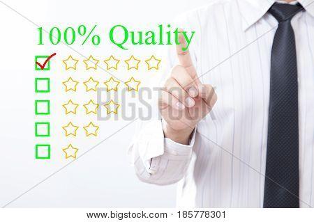 Businessman click concept 100% Quality message Five golden stars.