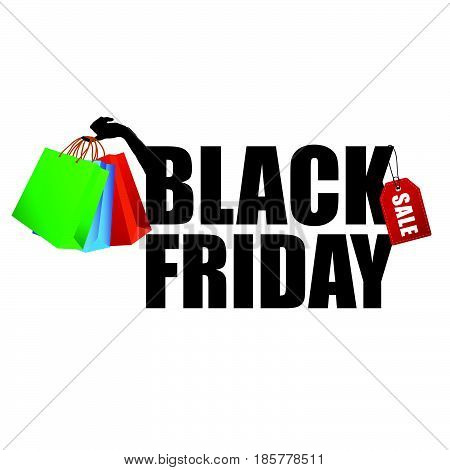 Black Friday With Paper Bag In Hand Illustration