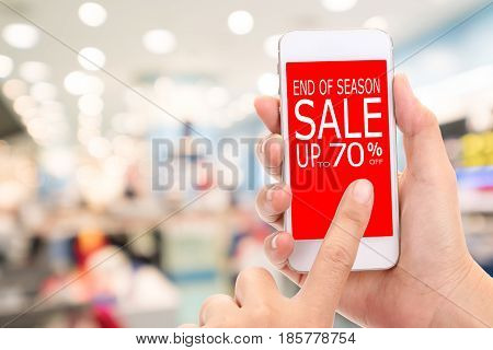 End of season Sale up to 70 % Promotion Discount Consumer Shopping Concept.