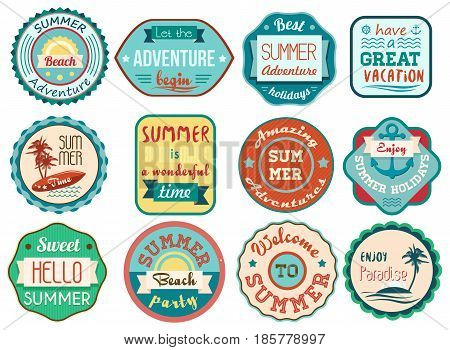 Vintage retro grunge summer vacation travel labels and badges stickers icons set