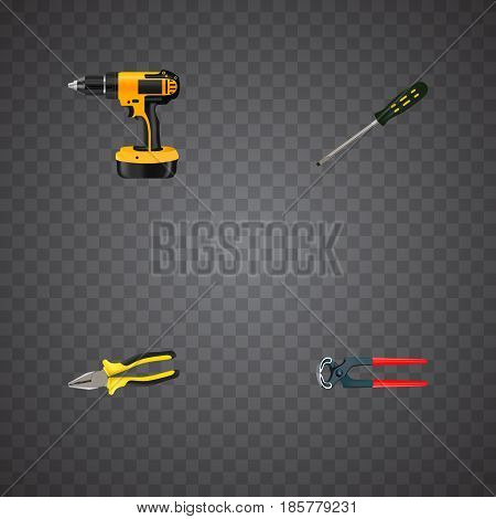 Realistic Tongs, Carpenter, Electric Screwdriver And Other Vector Elements. Set Of Construction Realistic Symbols Also Includes Tool, Carpenter, Electric Screwdriver Objects.