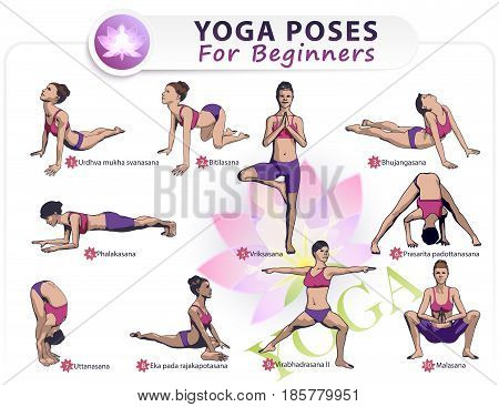 Colorful illustration Set of 10 poses of yoga female figures: a sequence of physical health exercises in the form of a creative visual training poster for beginners.