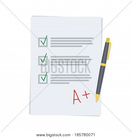 good exam results paper sheet with pen. Score of test Vector illustration.