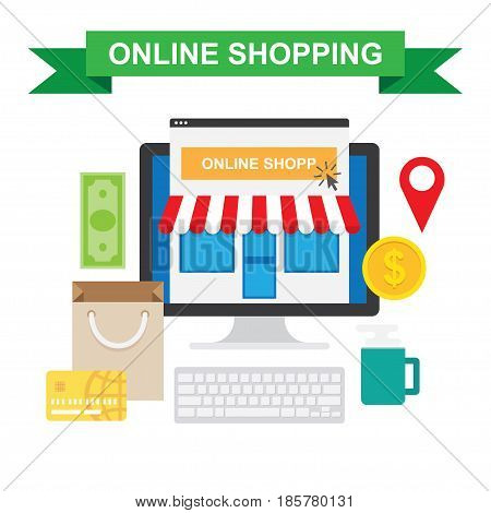 Online shopping concept with store E-commerce over white background vector illustration.
