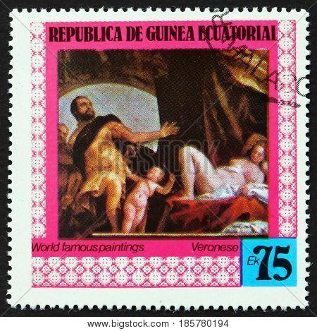EQUATORIAL GUINEA - CIRCA 1978: a stamp printed in Equatorial Guinea shows Allegory of Love Painting by Paolo Veronese Italian Painter circa 1978