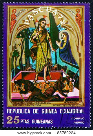EQUATORIAL GUINEA - CIRCA 1972: a stamp printed in Equatorial Guinea shows Resurrection Easter Detail from Triptych circa 1972