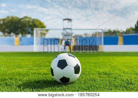 Goalkeeper of Soccer Waiting for a Penalty Kick