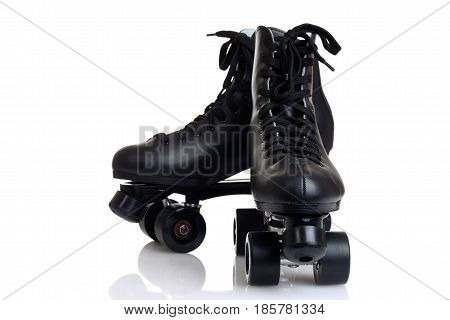 closeup men's roller skates on white background