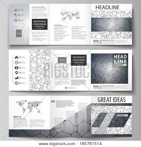 Set of business templates for tri fold square design brochures. Leaflet cover, abstract flat layout, easy editable vector. Chemistry pattern, molecular texture, polygonal molecule structure, cell. Medicine, science, microbiology concept.
