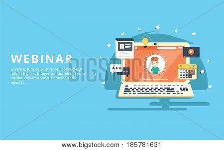 Webinar internet conference web based seminar flat design concept with icons