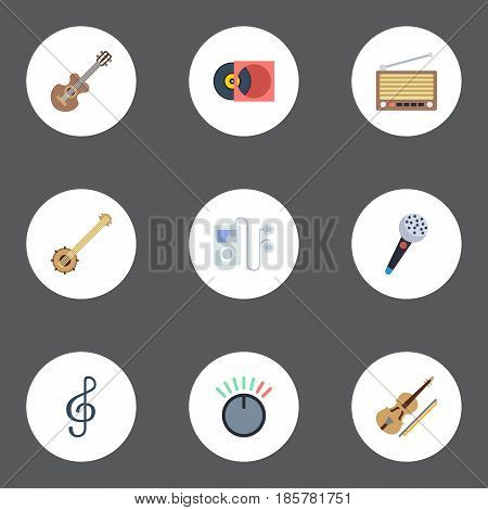 Flat Fiddle, Mp3 Player, Radio And Other Vector Elements. Set Of Audio Flat Symbols Also Includes Banjo, Mp3, Musical Objects.