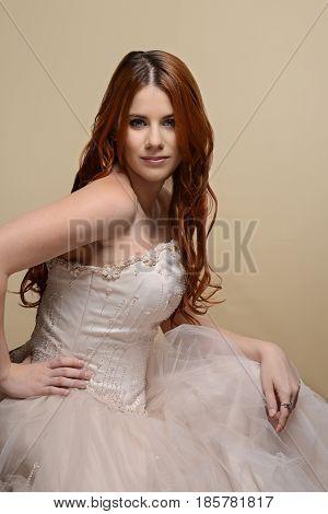 portrait red hair bride with wedding dress