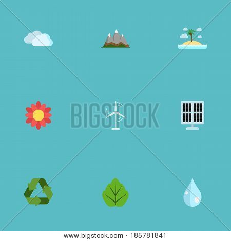 Flat Isle Beach, Sun Power, Landscape Vector Elements. Set Of Nature Flat Symbols Also Includes Flower, Blob, Recycle Objects.