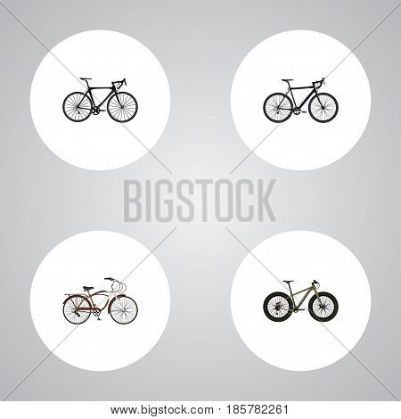 Realistic Bmx, Exercise Riding, Cyclocross Drive And Other Vector Elements. Set Of Bike Realistic Symbols Also Includes Bike, Cruise, Cyclocross Objects.