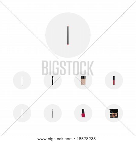 Realistic Brush, Eye Paintbrush, Concealer And Other Vector Elements. Set Of Greasepaint Realistic Symbols Also Includes Foundation, Liquid, Nail Objects.