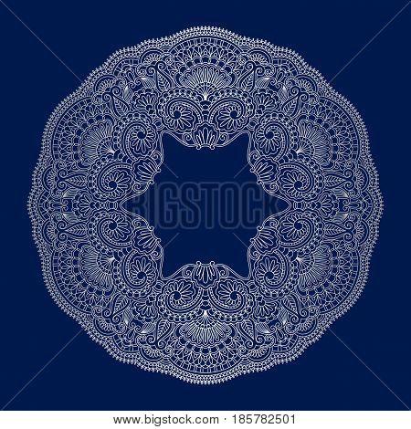 Vector vintage floral decorative ornamental element for design rosette invitation card print.