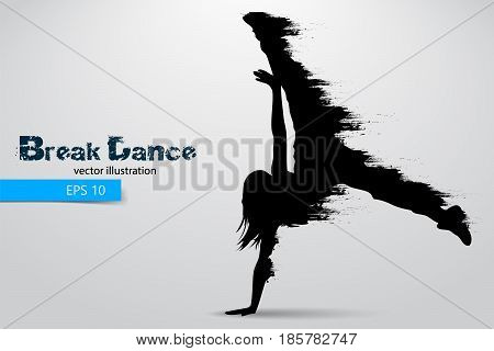 Silhouette of a break dancer from particles. Background and text on a separate layer, color can be changed in one click. Vector illustration
