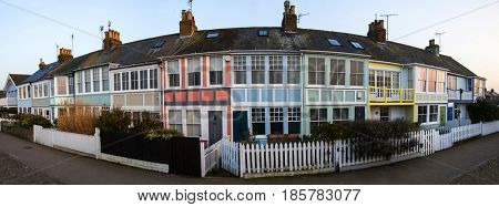 January 26, 2017 Whitstable, Kent, England: Panoramic view of cozy colorful tourist houses in Whitstable, Kent, UK