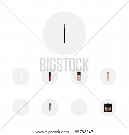 Realistic Contour Style Kit, Day Creme, Collagen Tube And Other Vector Elements. Set Of Cosmetics Realistic Symbols Also Includes Cosmetics, Collagen, Palette Objects.