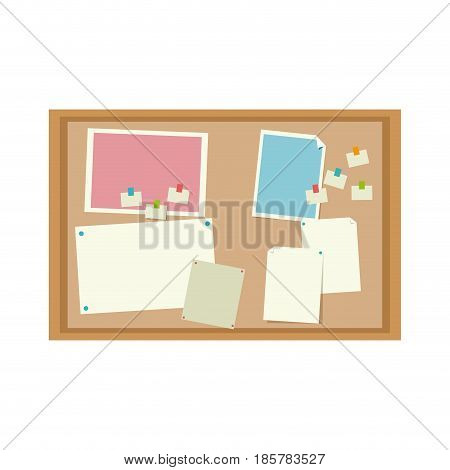 cork board with notes message office image vector illustration