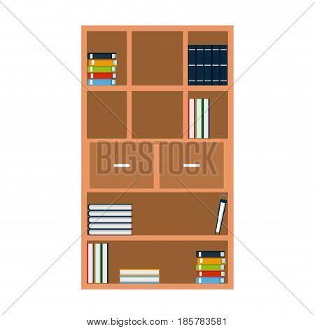 bookshelf books encyclopedia furniture wooden vector illustration