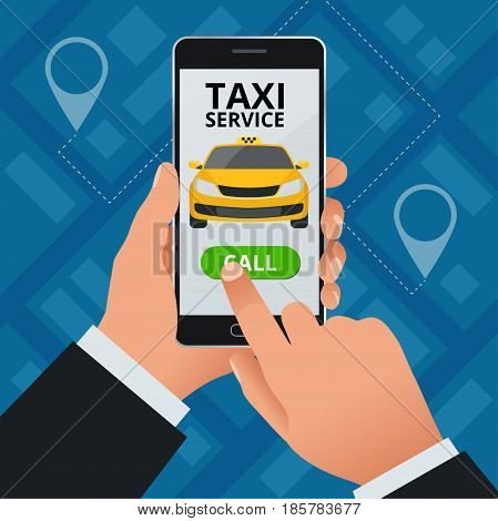 Online Taxi-service concept. Man orders a taxi from his cell phone. Taxi service application on screen. Vector business card template