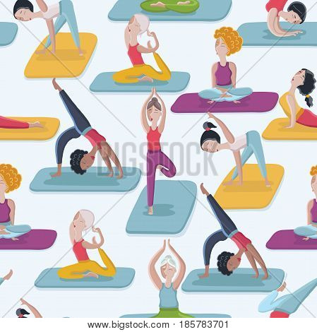 Vector cartoon funny seamles comic yoga poses seamless pattern background. Women in different posses