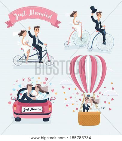 Vector funny cartoon illustration of Happy Newlyweds Scenes. Wedding couple ride retro bicycle, tandem bike , kisses in marriege car and in hot air ballon. Isolated on white background